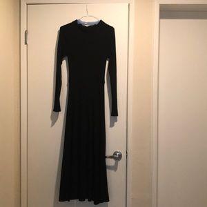 Zara knit backless long sleeved ribbed black dress